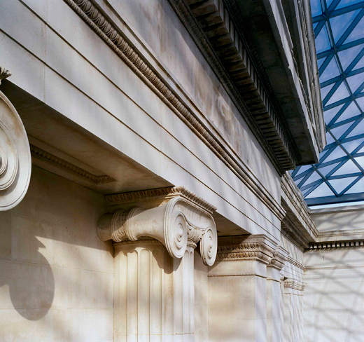 British Museum column and roof detail